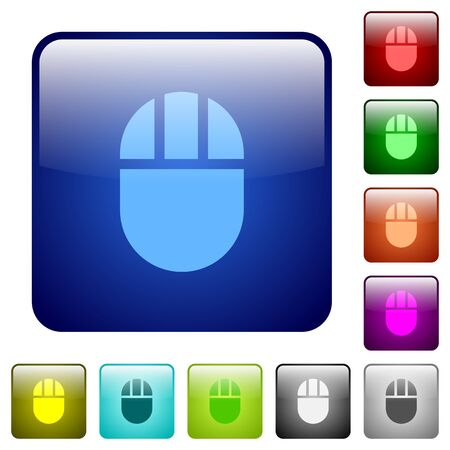 Three buttoned computer mouse icons in rounded square color glossy button set Illustration