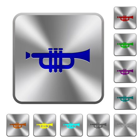 Trumpet engraved icons on rounded square glossy steel buttons Illustration