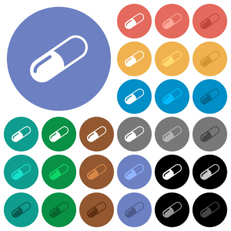 Pill multi colored flat icons on round backgrounds. Included white, light and dark icon variations for hover and active status effects, and bonus shades on black backgounds.