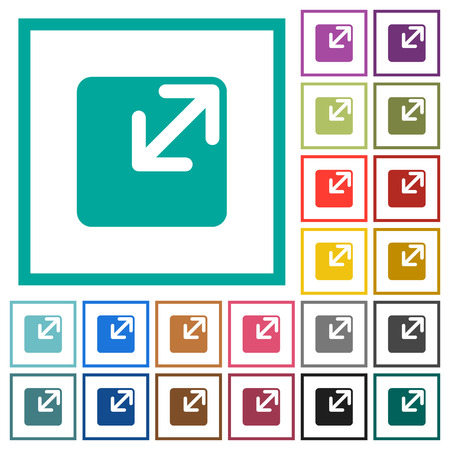 Resize window flat color icons with quadrant frames on white background