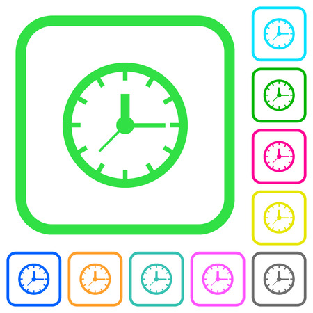 Analog clock vivid colored flat icons in curved borders on white background