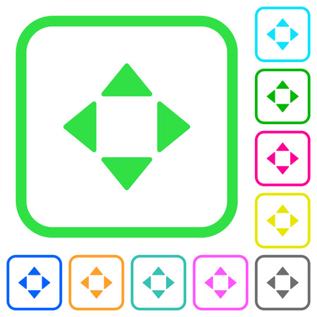 Control arrows vivid colored flat icons in curved borders on white background Иллюстрация
