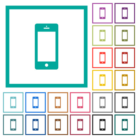 Cellphone with blank display flat color icons with quadrant frames on white background