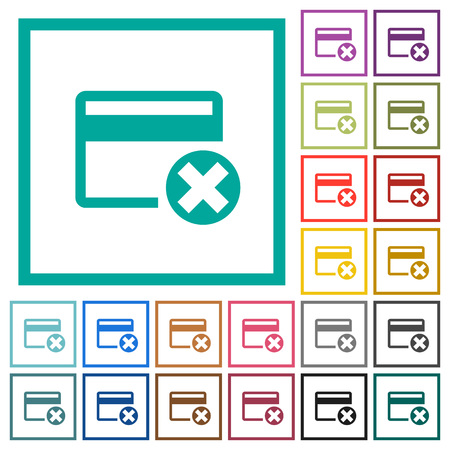 Cancel credit card flat color icons with quadrant frames on white background