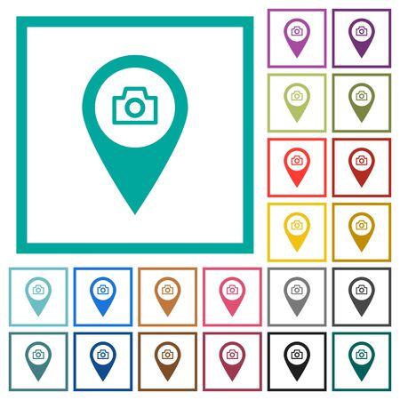 GPS-kaartlocatie snapshot vlakke kleurenpictogrammen met kwadrantkaders op witte achtergrond