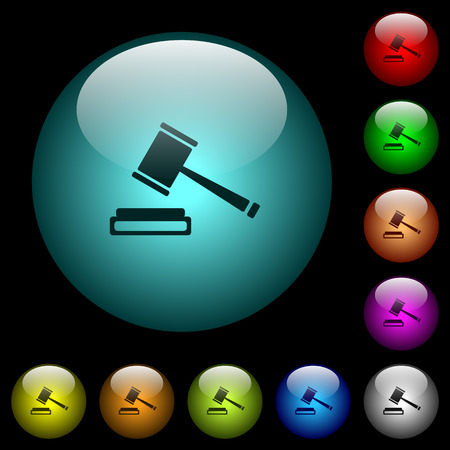 Auction hammer icons in color illuminated spherical glass buttons on black background. Can be used to black or dark templates