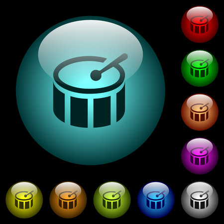 Drum icons in color illuminated spherical glass buttons on black background. Can be used to black or dark templates