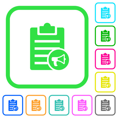 Note reading aloud vivid colored flat icons in curved borders on white background Illustration