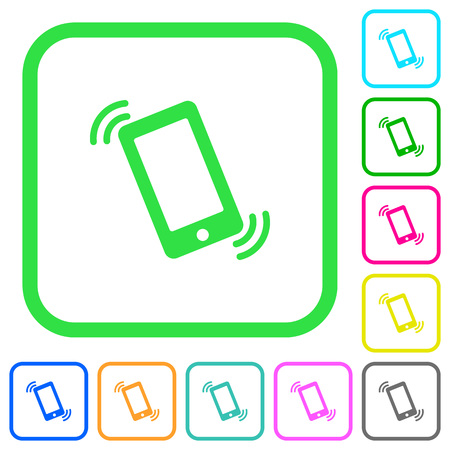 Ringing phone vivid colored flat icons in curved borders on white background