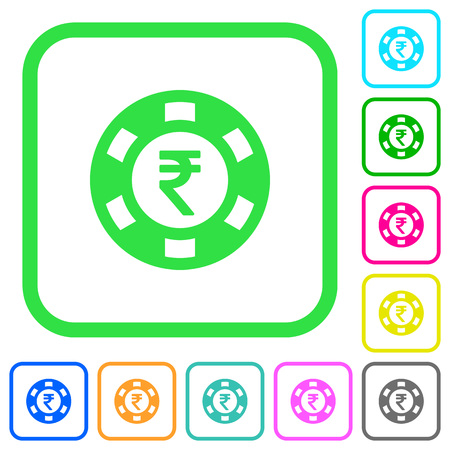 Indian Rupee casino chip vivid colored flat icons in curved borders on white background