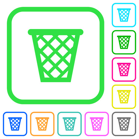 Trash vivid colored flat icons in curved borders on white background