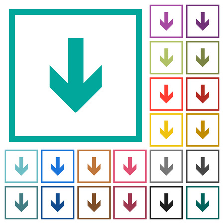 Down arrow flat color icons with quadrant frames on white background