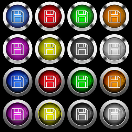 Floppy disk as save symbol white icons in round glossy buttons with steel frames on black background. The buttons are in two different styles and eight colors.