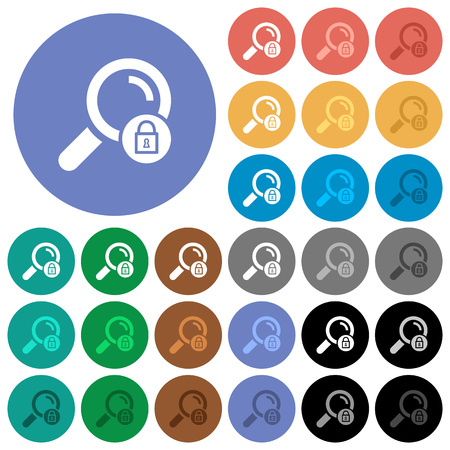 Search locked multi colored flat icons on round backgrounds. Included white, light and dark icon variations for hover and active status effects, and bonus shades on black backgounds.
