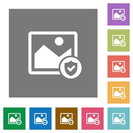 Protected image flat icons on simple color square backgrounds