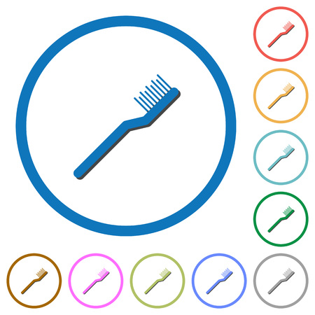 Toothbrush flat color vector icons with shadows in round outlines on white background