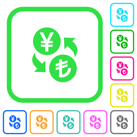 Yen and Lira money exchange vivid colored flat icons in curved borders on white background Illustration
