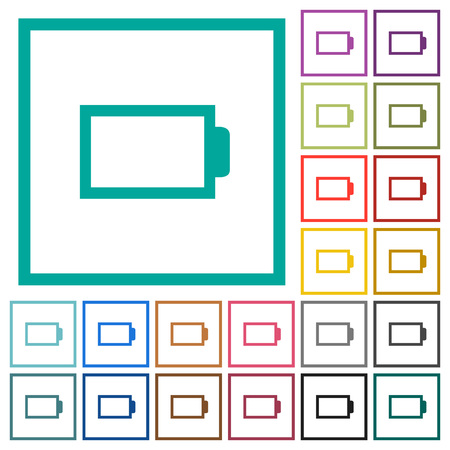 Empty battery flat colored icons with quadrant frames on white background