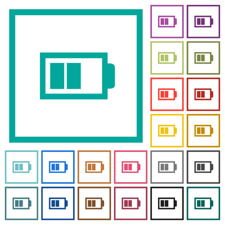 Battery with two bars flat colored icons with quadrant frames on white background Illustration