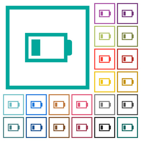 Low battery with one bar flat colored icons on quadrant frames in white background