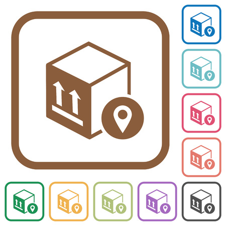 Package tracking simple icons in colored rounded square frames on white background