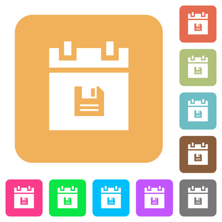 Save schedule data flat icons on rounded square vivid colored backgrounds.