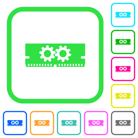 Memory optimization vivid colored flat icons in curved borders on white background