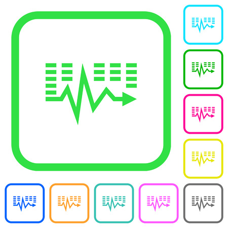 Music waves vivid colored flat icons in curved borders on white background