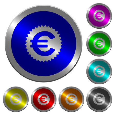 Euro sticker icons on round luminous coin-like colored steel buttons 일러스트