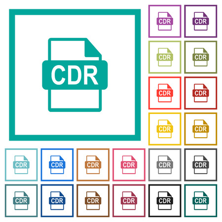 CDR file format flat colored icons with quadrant frames on white background