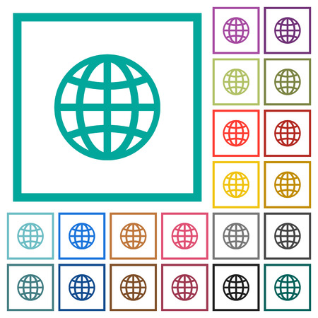 Globe flat colored icons with quadrant frames on white background