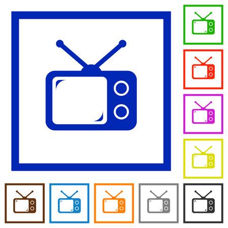 Vintage retro television flat colored icons in square frames on white background Ilustração