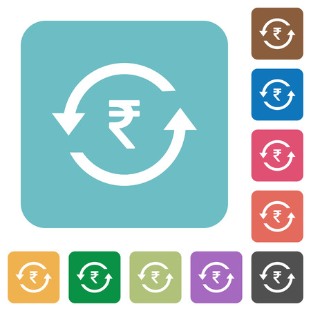 Rupee pay back white flat icons on color rounded square backgrounds Illustration