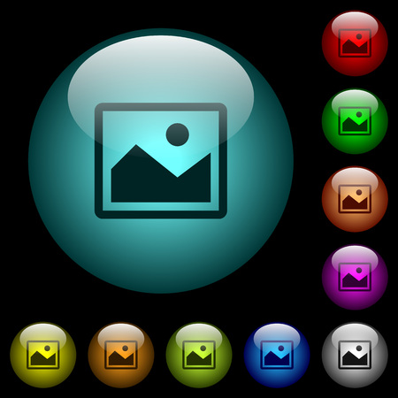 Single picture icons in color illuminated spherical glass buttons on black background. Can be used to black or dark templates