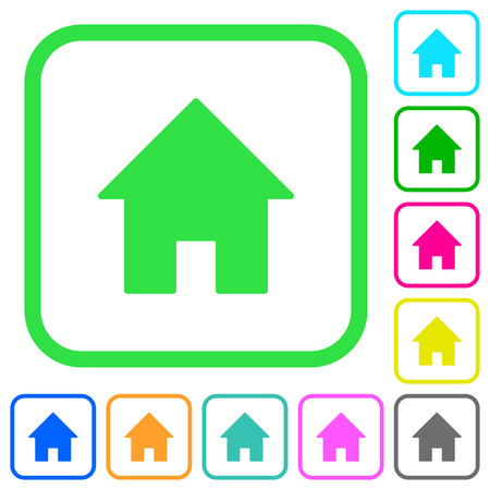 Home vivid colored flat icons in curved borders on white background