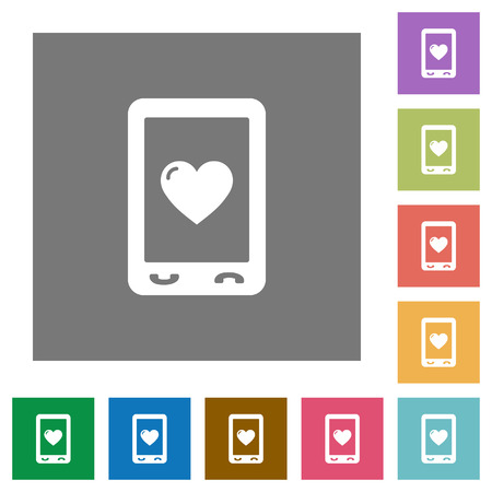 A smartphone with heart on the screen. Favorite mobile content flat icons on simple color square backgrounds