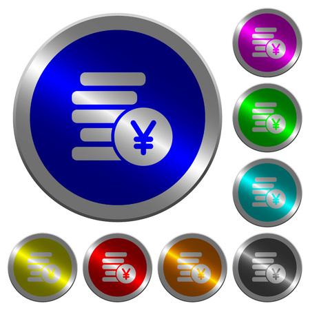 Yen coins icons on round luminous coin-like color steel buttons Ilustração