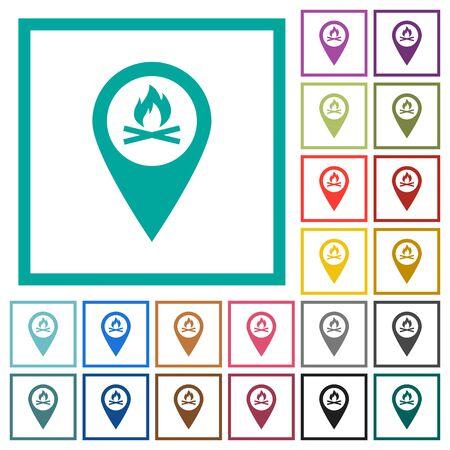 Camp GPS kaartlocatie egale kleur pictogrammen met kwadrant frames op witte achtergrond