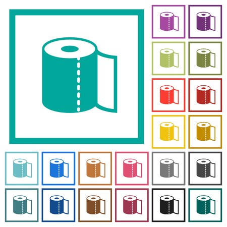 Paper towel flat color icons with quadrant frames on white background