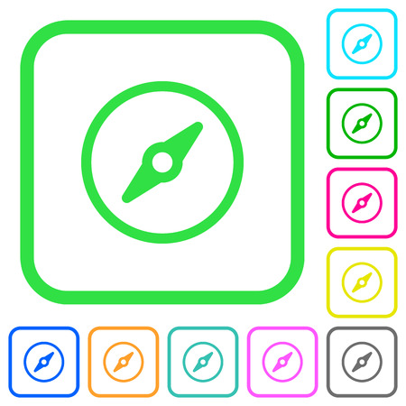 Simple compass vivid colored flat icons in curved borders on white background