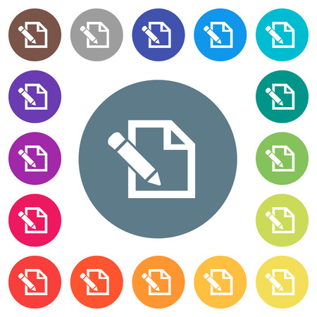 Edit with pencil flat white icons on round color backgrounds. 17 background color variations are included. Illustration