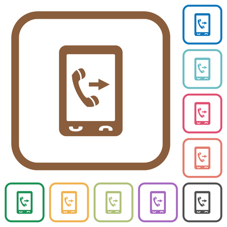 Outgoing mobile call simple icons in color rounded square frames on white background  イラスト・ベクター素材