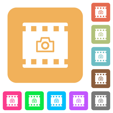 Grab image from movie flat icons on rounded square vivid color backgrounds.