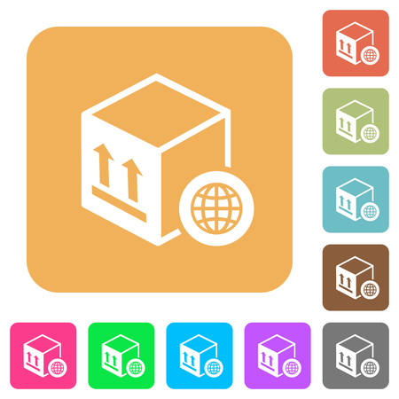 Worldwide package transportation flat icons on rounded square vivid color backgrounds.