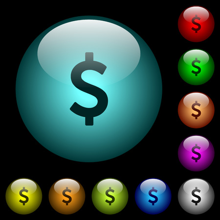 Dollar sign icons in color illuminated spherical glass buttons on black background. Can be used to black or dark templates 일러스트