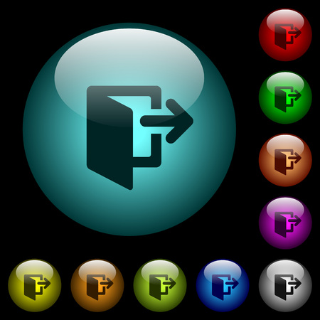 Exit icons in color illuminated spherical glass buttons on black background. Can be used to black or dark templates