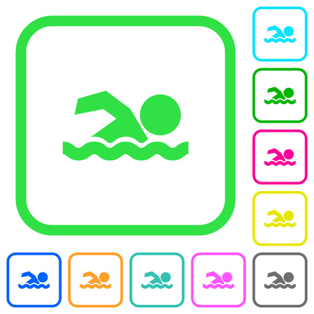 Swimming man vivid colored flat icons in curved borders on white background