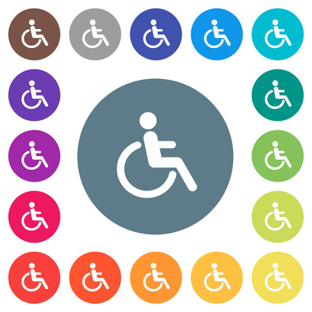 Disability flat white icons on round color backgrounds. 17 background color variations are included.