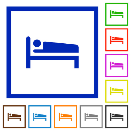 Sleeping man flat color icons in square frames on white background