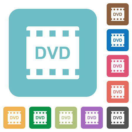 DVD movie format white flat icons on color rounded square backgrounds